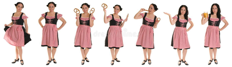 La donna in vestito bavarese. Collage. immagini stock