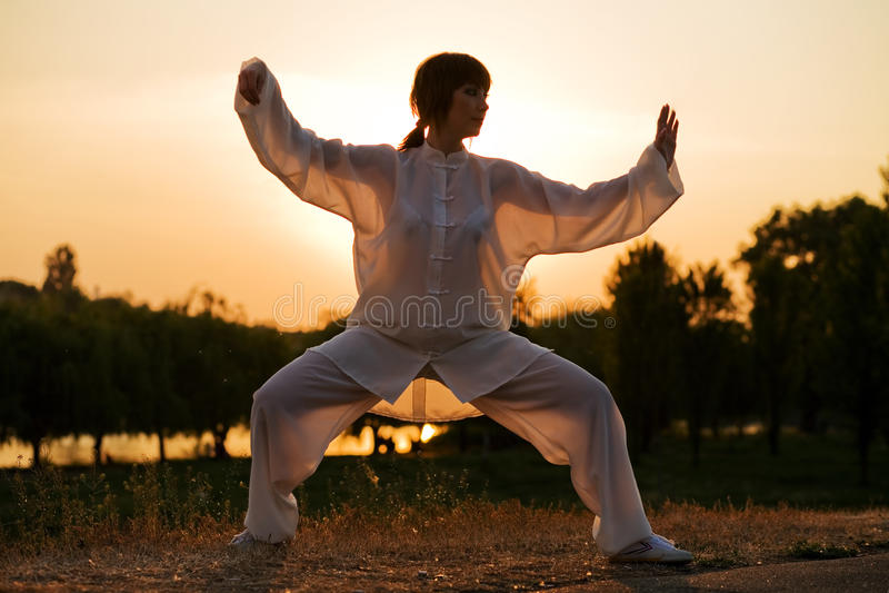 La donna in vestito bianco ha reso il taiji chuan - 3 fotografia stock