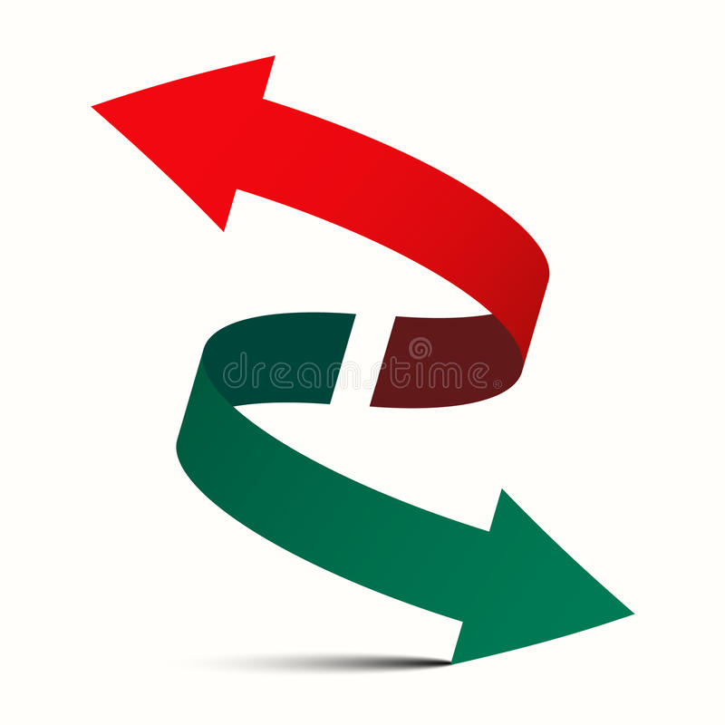 La doppia freccia - diagonale da sinistra a destra ed aumenta giù illustrazione di stock