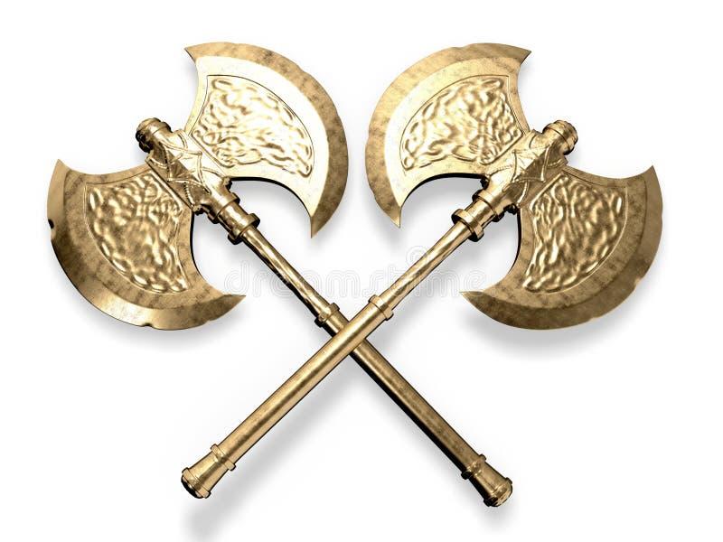 La double bataille d'or diminue le rendu 3d illustration stock