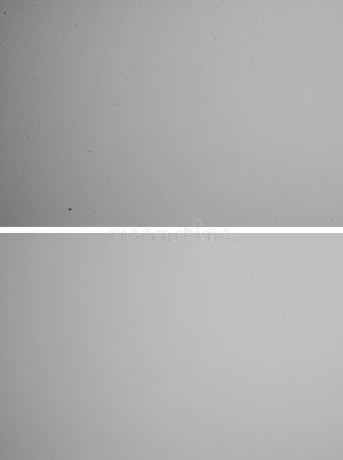 La double image contrasty élevée a tiré de l'appareil-photo de DSLR après et avant le nettoyage images libres de droits