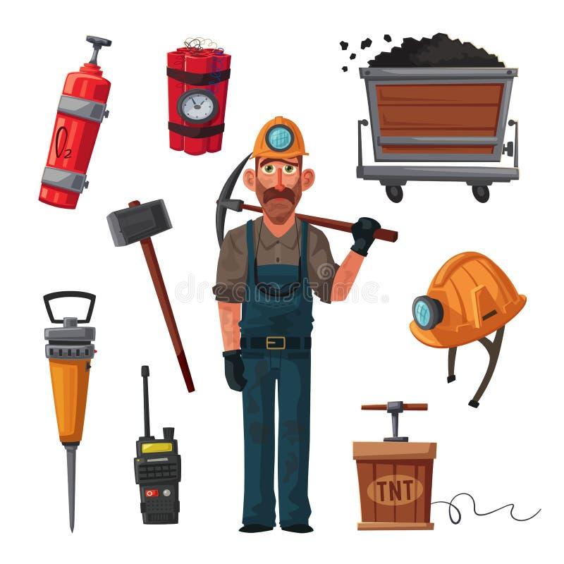 La draga carica il carbone del camion Carattere e strumenti del minatore Illustrazione di vettore del fumetto illustrazione vettoriale