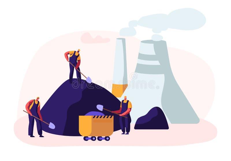 La draga carica il carbone del camion Minatore Characters Work sulla cava con il carbone di carico degli strumenti, di trasporto  illustrazione di stock