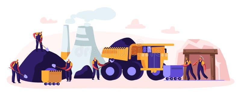 La draga carica il carbone del camion Minatore Characters Working sulla cava con gli strumenti, il trasporto e la tecnica Industr illustrazione vettoriale