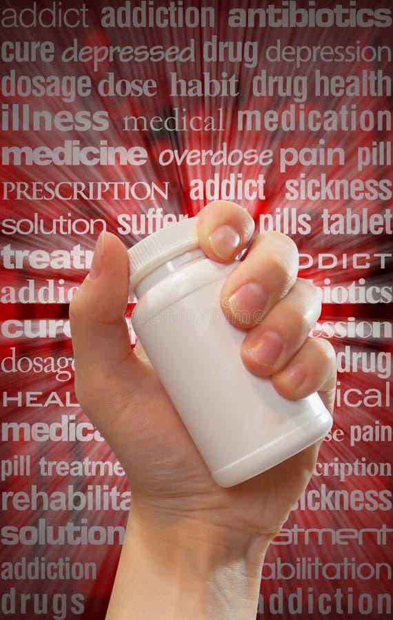 La droga y la píldora abusan de la botella de la mano imágenes de archivo libres de regalías