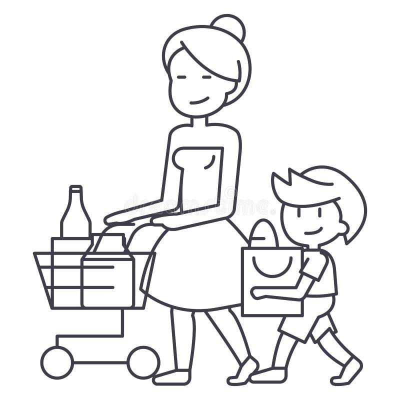 La drogheria di acquisto, la madre con il figlio ed il carrello vector la linea l'icona, il segno, illustrazione su fondo, colpi  illustrazione di stock