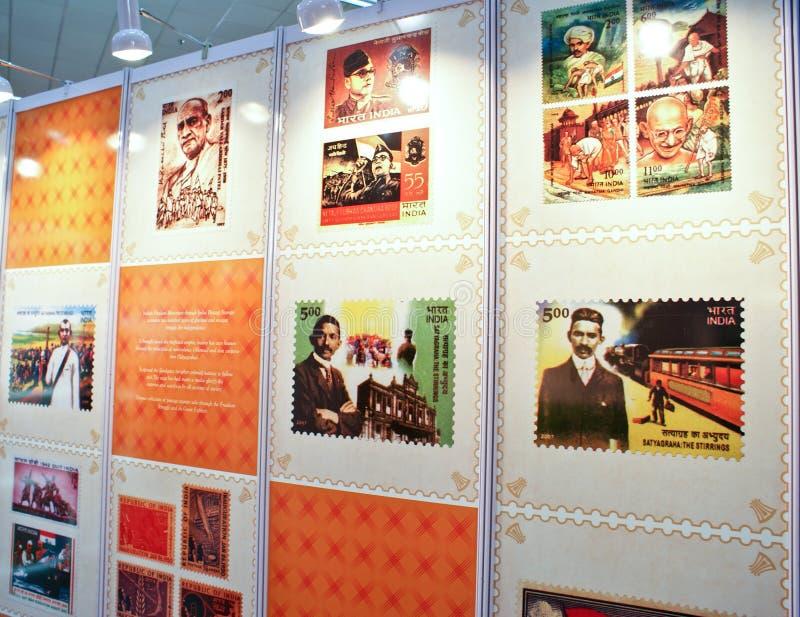 La Durée De Mahatma Gandhi Commémorée Sur Des Estampilles Photo éditorial