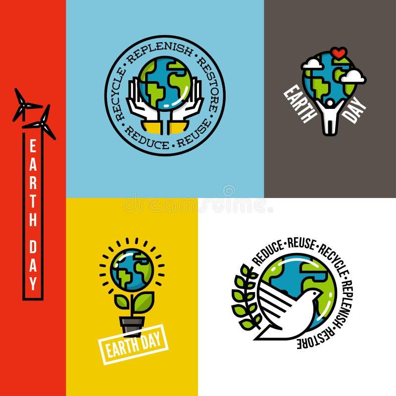 La ecología, va conceptos verdes y respetuosos del medio ambiente stock de ilustración