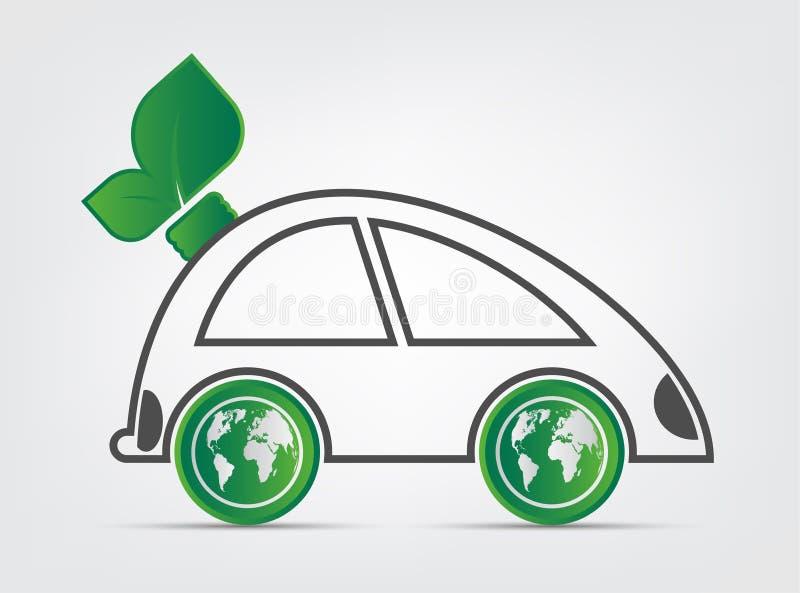La ecología y el concepto ambiental del paisaje urbano, símbolo del coche con las hojas verdes alrededor de ciudades ayudan al mu ilustración del vector