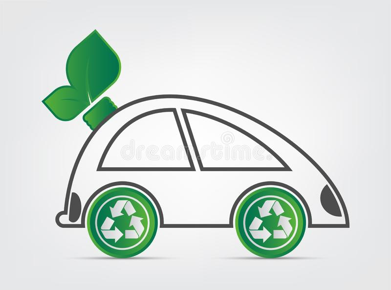 La ecología y el concepto ambiental del paisaje urbano, símbolo del coche con las hojas verdes alrededor de ciudades ayudan al mu stock de ilustración