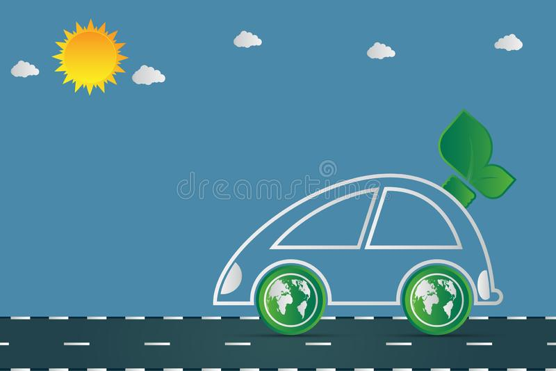La ecología y el concepto ambiental del paisaje urbano, símbolo del coche con las hojas verdes alrededor de ciudades ayudan al mu libre illustration