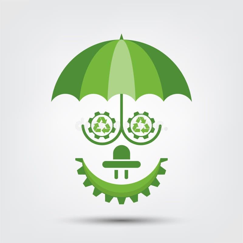 La ecología y el concepto ambiental, símbolo de la gente de la tierra con las hojas verdes alrededor de ciudades ayudan al mundo  libre illustration