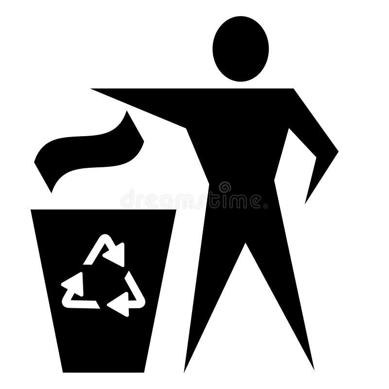 La ecolog?a del hombre recicla la basura para el dise?o del fondo de la web imagen de archivo