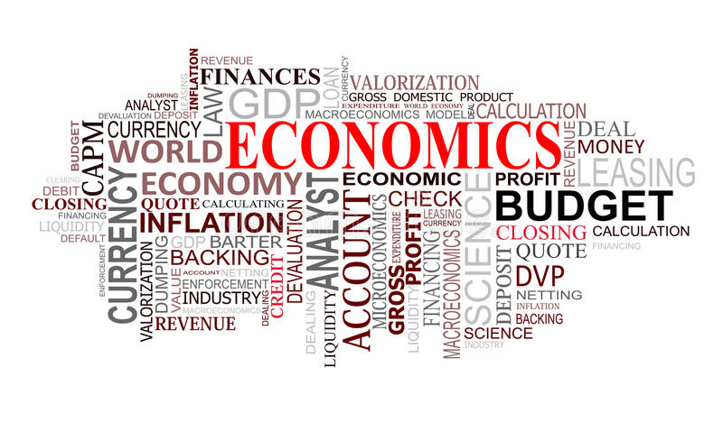 La economía marca la nube con etiqueta libre illustration