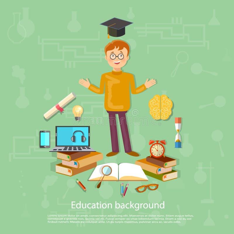 La educación de nuevo a las herramientas de la escuela del colegial de la escuela estudia y aprende libre illustration