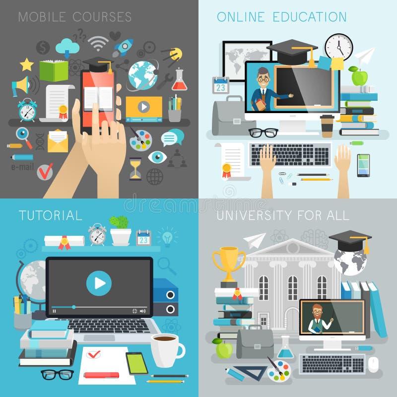 La educación en línea, el tutorial, la universidad para todos y el móvil cursa conceptos stock de ilustración