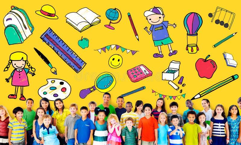 La educación escolar de los niños juega concepto de los jóvenes de la materia stock de ilustración
