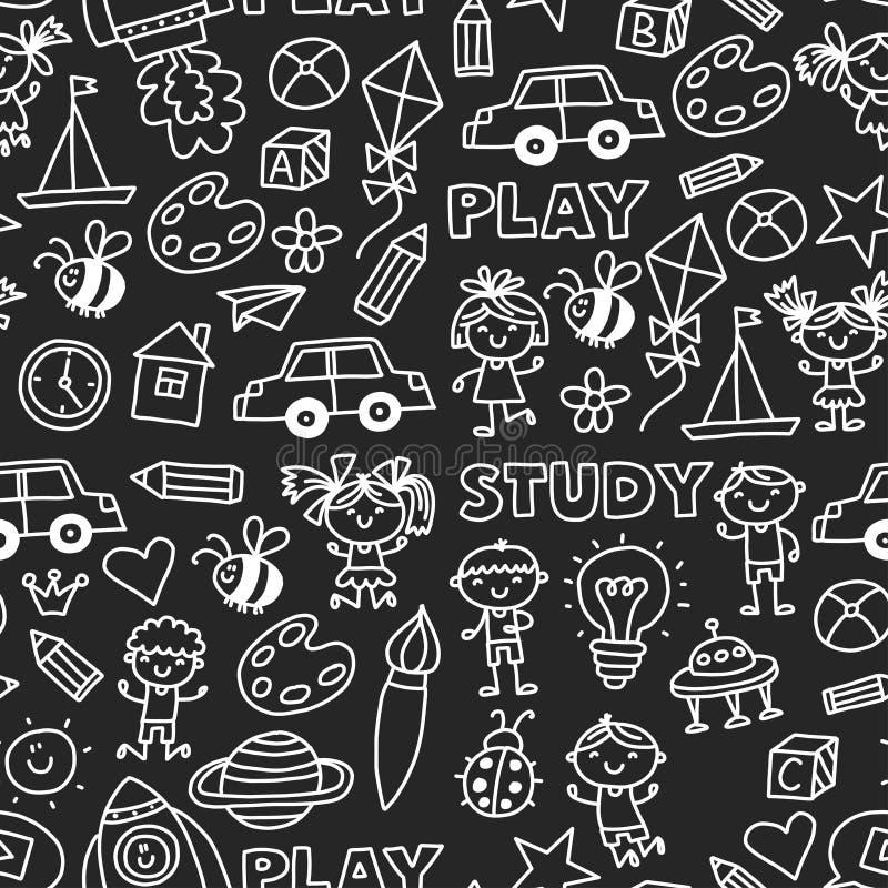 La educación escolar preescolar del cuarto de niños de la guardería con los niños garabatea el juego del modelo y estudia el dibu libre illustration