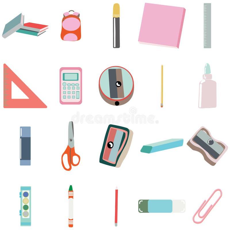 La educación suministra iconos del color en colores pastel Pinturas, creyones, lápices en el fondo blanco libre illustration