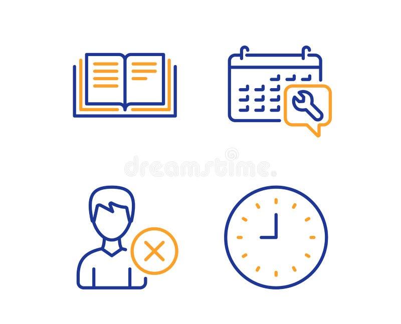 La educaci?n, llave inglesa y quita el sistema de los iconos de la cuenta muestra del reloj Libro de instrucciones, servicio de r libre illustration