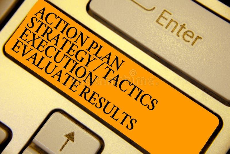 La ejecución de las táctica de la estrategia del plan de actuación del texto de la escritura de la palabra evalúa resultados Conc fotografía de archivo