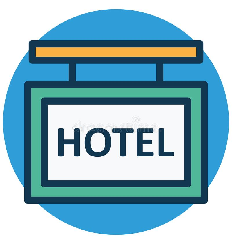 La ejecución, hotel aisló el icono del vector que puede modificarse o corregir fácilmente stock de ilustración