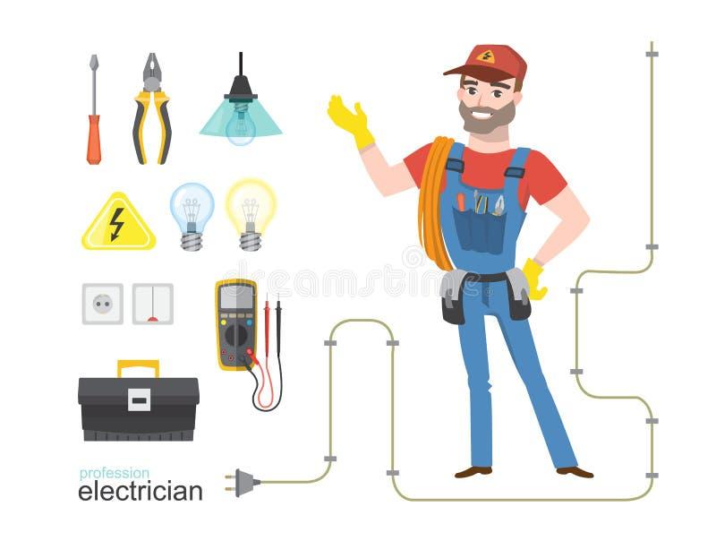La electricidad profesional del infographics del electricista equipa la instalación ilustración del vector