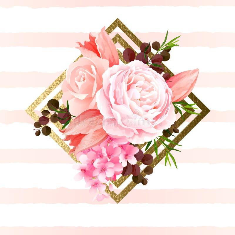 La elegancia florece el ramo de rosas y de tulipanes del color La composición con el flor florece en el elemento del diseño geomé stock de ilustración
