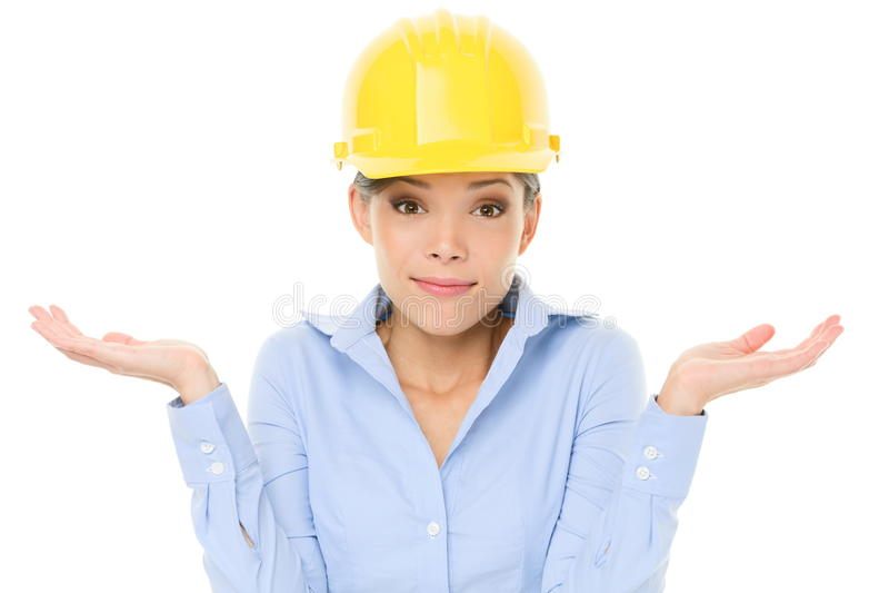 Encogimiento de la mujer del ingeniero, del empresario o del arquitecto imágenes de archivo libres de regalías