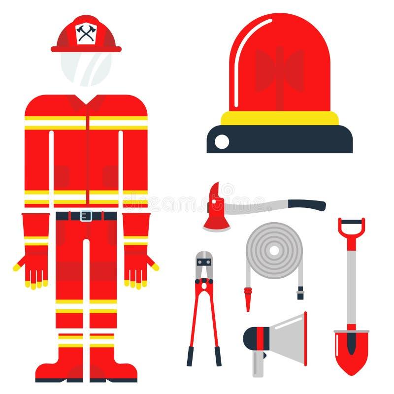 La emergencia del equipo de seguridad contra incendios equipa el ejemplo seguro del vector de la protección del accidente del pel ilustración del vector