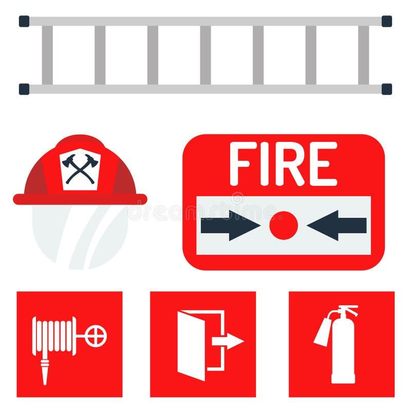 La emergencia del equipo de seguridad contra incendios equipa el ejemplo seguro del vector de la protección del accidente del pel stock de ilustración