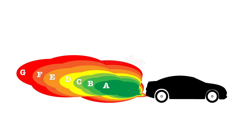 La emisión del coche en 7-Segment, colorea rojo amarillo-naranja verde stock de ilustración