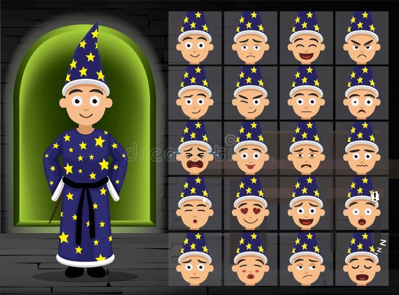 La emoción azul de la historieta del muchacho del traje de la bruja hace frente al ejemplo del vector ilustración del vector