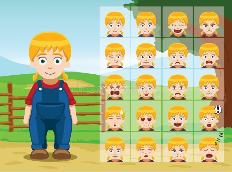 La emoción de la historieta de la niña de la granja hace frente al ejemplo del vector ilustración del vector