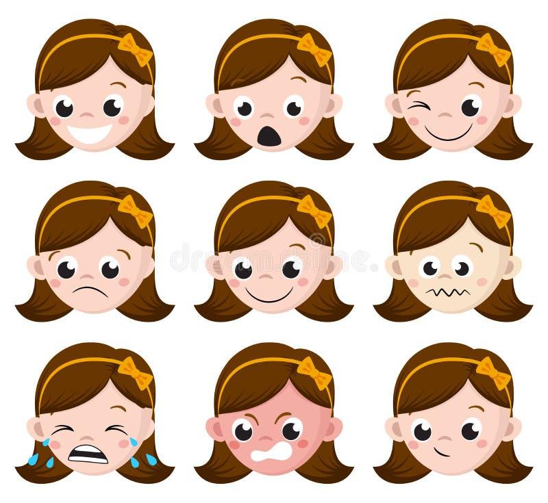 La emoción de la muchacha hace frente a la historieta sistema de expresiones femeninas del avatar stock de ilustración