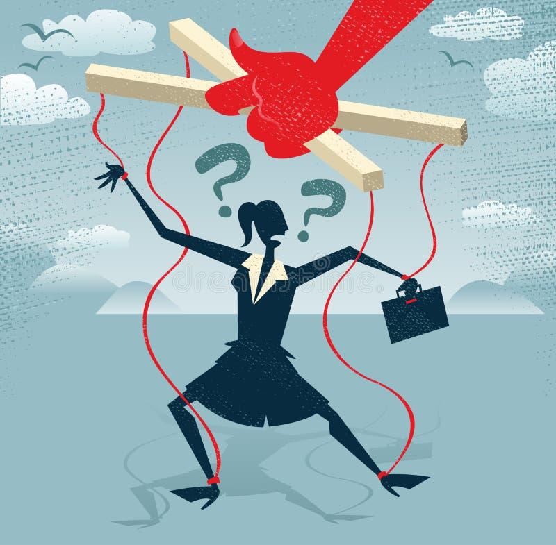 La empresaria abstracta es una marioneta. stock de ilustración