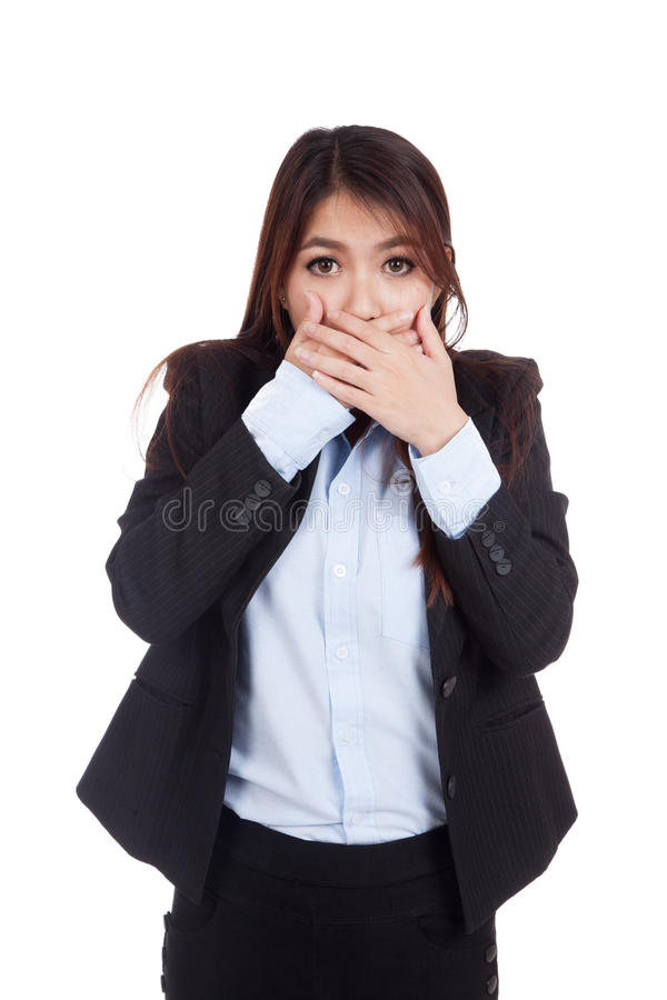 La empresaria asiática joven chocó y cierra su boca foto de archivo libre de regalías
