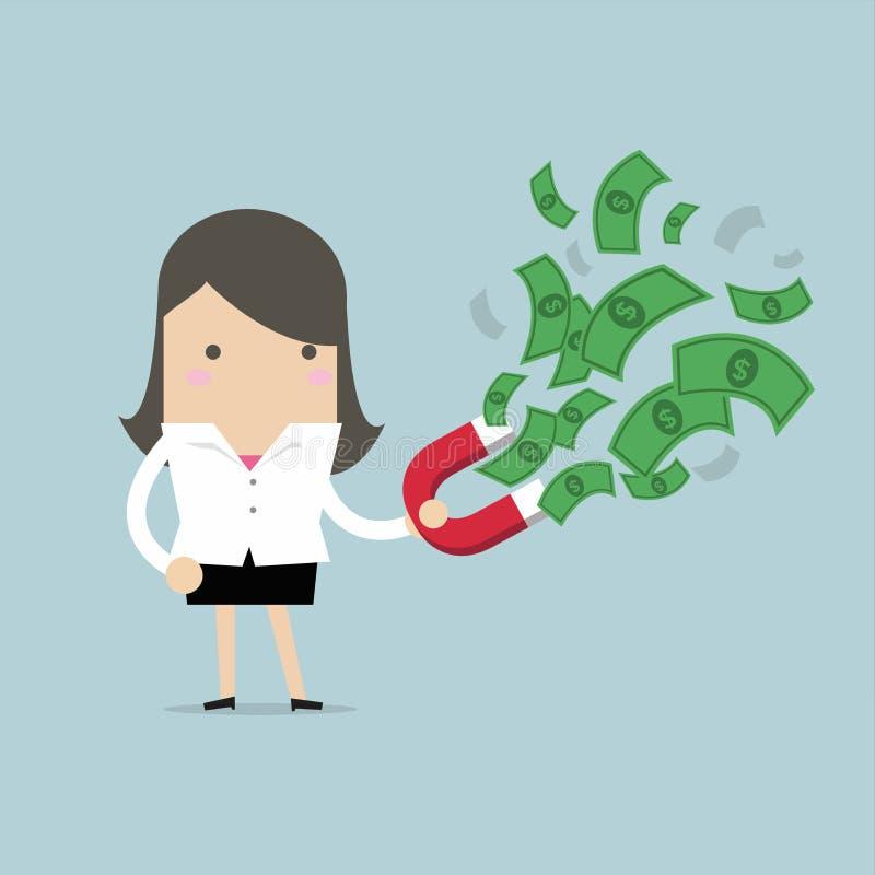 La empresaria atrajo billetes de banco con los imanes rojos ilustración del vector