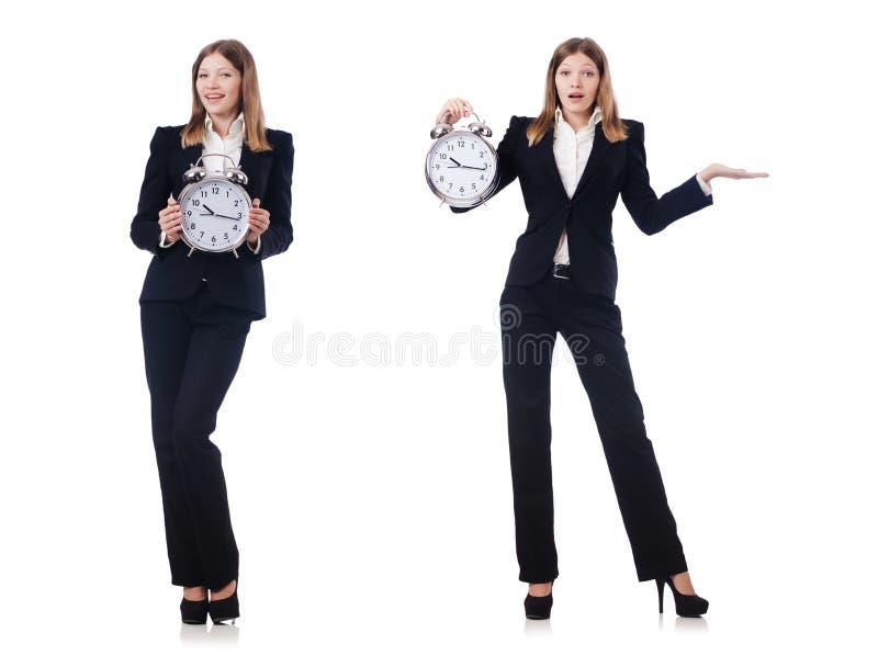 La empresaria con el reloj aislado en blanco imagen de archivo libre de regalías