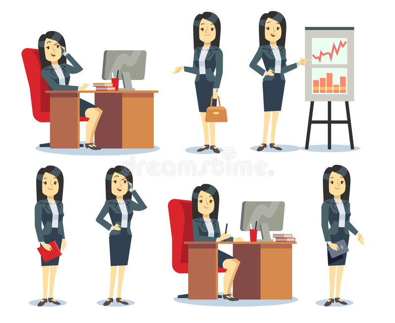 La empresaria de la oficina en diversas situaciones vector el sistema del plano de la historieta de los caracteres stock de ilustración