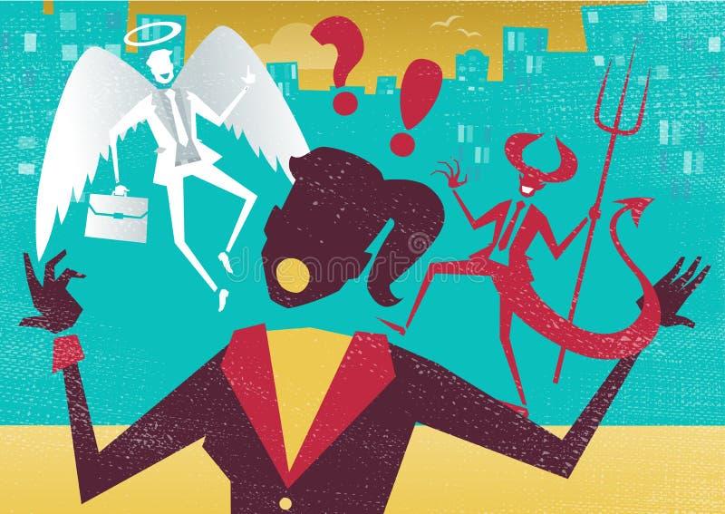 La empresaria decide entre el bien y el mal ilustración del vector