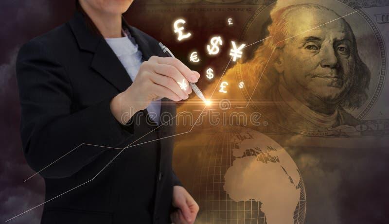 La empresaria dibuja gráficos de las finanzas stock de ilustración