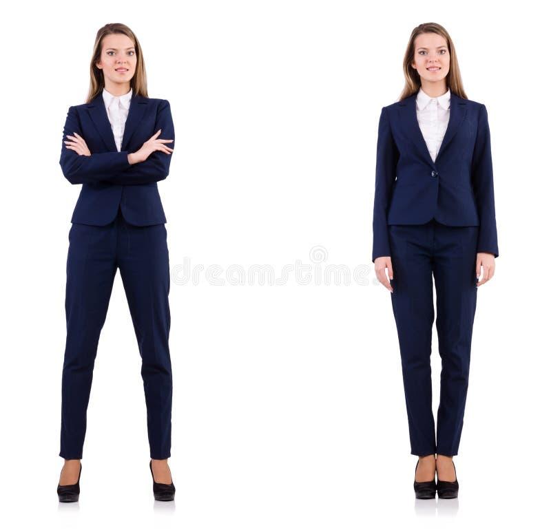 La empresaria en el traje aislado en blanco foto de archivo libre de regalías