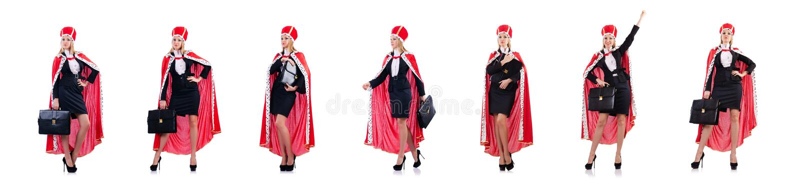 La empresaria en el traje real aislado en blanco foto de archivo libre de regalías