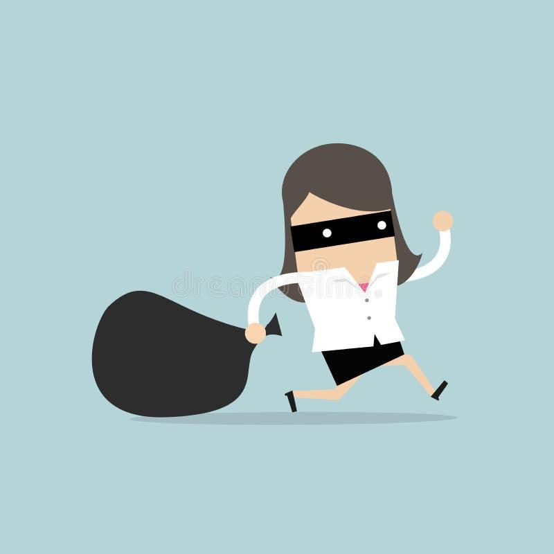 La empresaria en máscara del ladrón huye con el bolso robado ilustración del vector