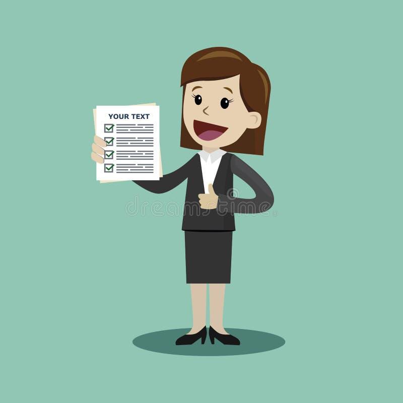 La empresaria está sosteniendo el papel de la lista de verificación Ilustración del vector de la historieta stock de ilustración