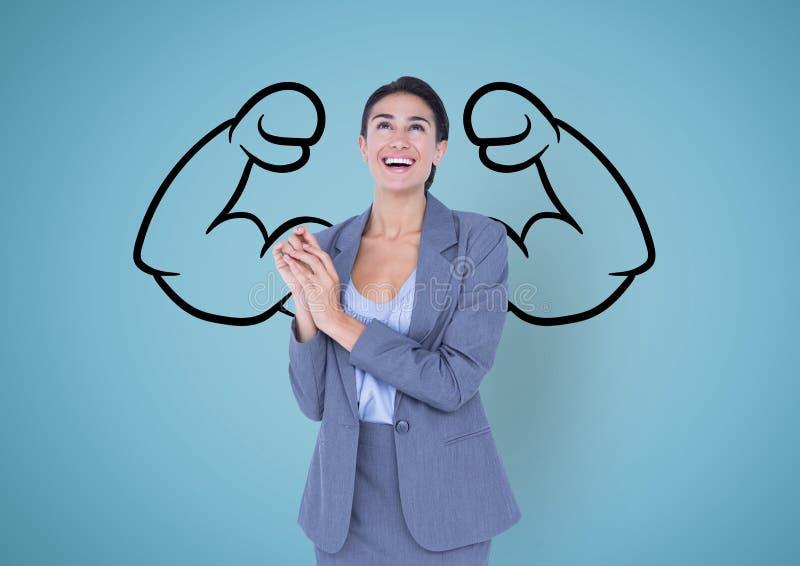la empresaria feliz delante de los puños dibuja en la pared azul imagen de archivo