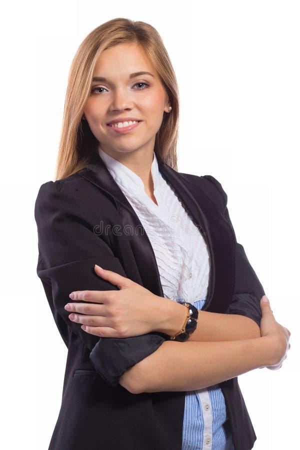 La empresaria feliz joven With Arm del retrato dobló fotos de archivo
