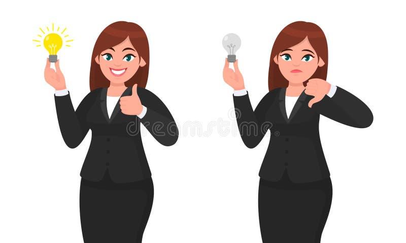 La empresaria feliz que sostiene la bombilla brillante y que muestra manosea con los dedos encima de muestra Mujer infeliz que so stock de ilustración