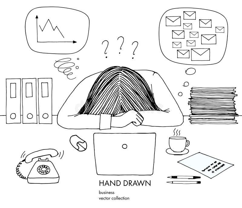 La empresaria joven puso su cabeza abajo en la tabla Anillos del teléfono, muchos correos del buzón de entrada, mún horario, ning libre illustration